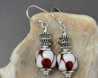 Lampwork Earrings, Red Earrings, Handmade Beads, Red and White, Flamework, Art Bead Earrings, Artisan Beads, Emerald City Glass, Marcie Page