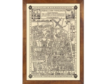 Princeton University Pictorial Map ... Published in 1932; 24x36 Print on Photo Paper