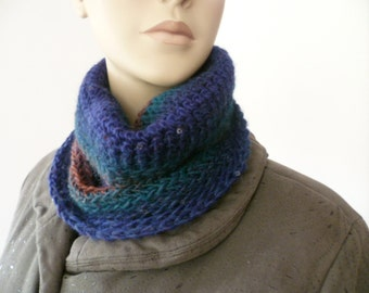 Ladies Neck warmer/cowl with sequins hand crochet dark blues variagated FREE UK SHIPPING