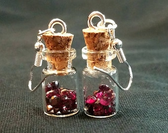 Glass Jar Dangle Earrings With Over A Carat's Worth Of Round Faceted Garnets!