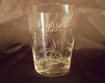 Etched glass shot glass
