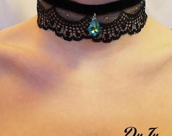 Black velvet choker with blue  Swarovski crystal