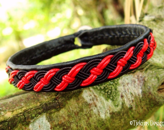VALHALLA Sami Pagan Gothic Viking Black Red Leather Bracelet with spun Black copper Braid on Reindeer Leather