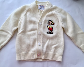 Vintage 1960s 70s Robinit Toddler Boy Girl Pinocchio Cream Cardigan Sweater 4T 4