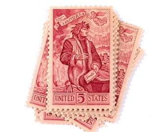 5 x Red 5 cents Dante Alighieri 1965 UNused vintage US postage stamps - Poet - Carmine - Divine Comedy - for mail, invites, crafts