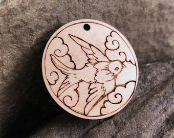 Flying Bird in Clouds Wooden Pendant