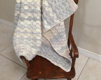 Pale Blue, pink, off white Baby Blanket Handmade Crochet Crib Lap Stroller Soft Yarn Shell Pattern