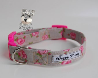 Pink Rose Cotton Dog Collar with Optional Matching Lead & Accessories