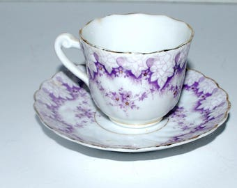Vintage demitasse cup and saucer  purple and white china  espresso cup and saucer