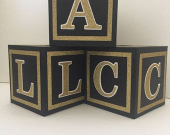 Glitter Borders-Custom  Alphabet Blocks, Baby Shower Decorations, black and gold, white and gold, 4.5 inches tall