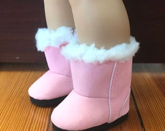 Girl Doll Boots, White fur trim Pink Boots will fit 18 inch & 15 inch Dolls, American Doll Boots, Fur Boots