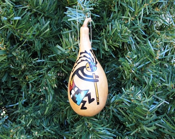 Southwestern Hand-painted Gourd Christmas Ornament Kokopelli Flute Player New Mexico Desert Southwest #408G