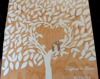 Custom Wedding Guest Book Alternative Wooden Hand Painted Tree Leaves To Sign