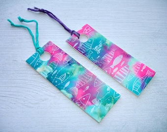 1 Turquoise & Pink Fish Pattern Handcrafted Bookmark