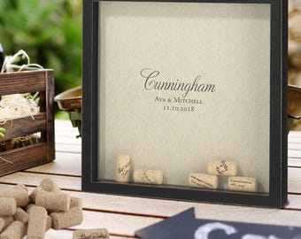Wine Corks Framed Guest Book Drop in Sign in perfect for Wedding or Engagement Party!