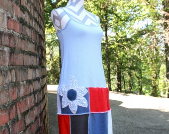Artsy OOAK Patriotic Red, White, & Blue Spaghetti Strap Jersey Dress - Repurposed / Upcycled Women's Tunic Dress - Size Small to Medium