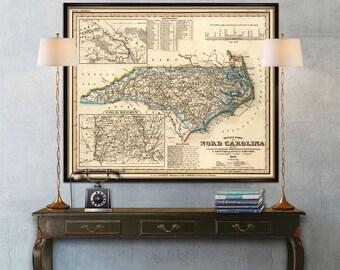 Old map of North Carolina - Vintage map reproduction - North Carolina  wall map