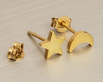 Moon Star Studs, 925 Sterling Silver, Gold Moon Star Studs,Solid Gold Earrings