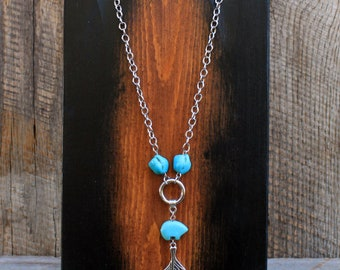 Feather Chain Necklace, Turquoise Jewelry, Chain Jewelry, Feather Jewelry