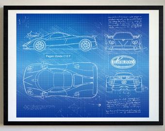 Pagani Zonda C12 F (2005 2011) Da Vinci Sketch, Pagani Artwork,