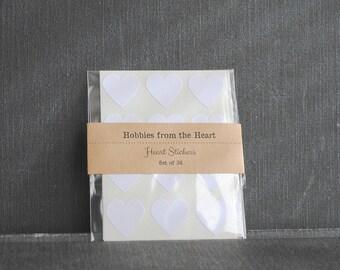 36 Mini White Heart Seals / Stickers