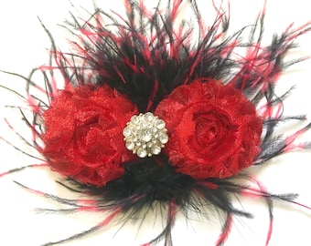 Red Black Hair piece,  Dance Costume Hair Piece, Black Red Feather Hair Clip, Red and Black Feather Hair Clip,