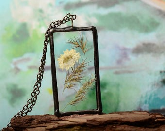 rectangle necklace, old tin jewelry, pressed flower glass necklace, Romantic gift, Nature jewelry, copper pendant