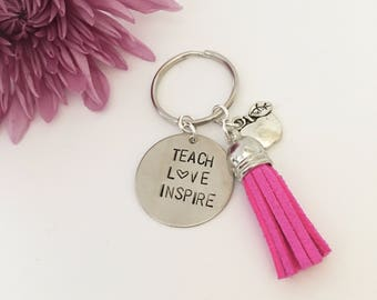 Hand stamped teacher keychain, end of year gift, teacher gift, apple charm, inspire, teach, love