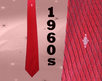 Skinny Tie Red Mid Century Mens Vintage 60s Slim Necktie, Retro Thin Neck Tie Classy Gift for Him, Don Draper Mad Men Rat Pack, Self Tipping