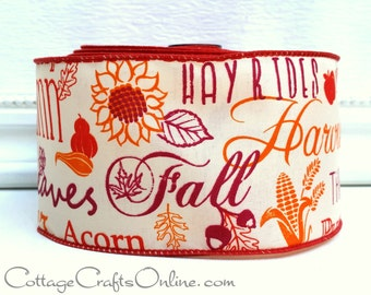 "Fall Wired Ribbon, 2 1/2""  Fall Script Greetings - Ten Yard Roll - ""Autumn Mottos"" Harvest Orange, Cranberry Thanksgiving Wire Edged Ribbon"