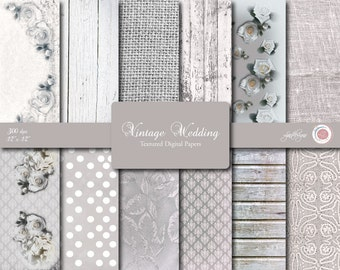 Wedding Papers, White Wood, Rustic, Vintage, Floral, Scrapbooking, Crafts, Textured, Digital Wedding, Linen, Burlap, Damsk, Cottage Chic
