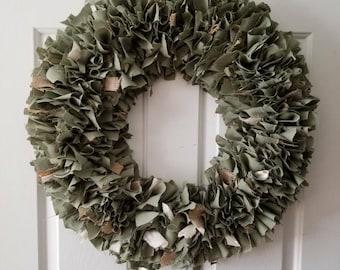"Sage Green Wreath, Rag Wreath, Rustic Wreath, Camo, Shabby Decor Round  22"""