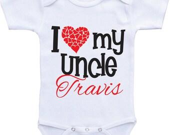 I Love My Uncle Baby Onsies Heart Onesie My Uncle Loves Me