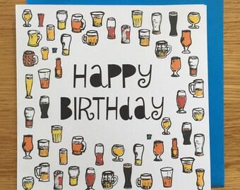Birthday card/ happy birthday card/ beers
