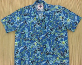 HARD ROCK CAFE Hawaiian Shirt Save The Planet Guitars Leis Honolulu Hawaii Rock n' Roll Vintage Mens Camp - M - Oahu Lew's Shirt Shack