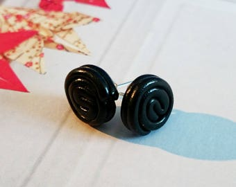 roll of black chips licorice polymer clay earrings