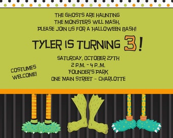 monster Halloween invitation --   Halloween birthday party invitation -- You print or I print