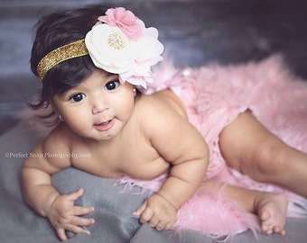 VINTAGE PINK  and GOLD bloomer set, vintage inspired baby headband and chiffon ruffle diaper cover, vintage pink, light pink and gold.
