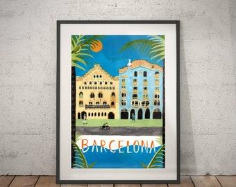 barcelona, barcelona travel poster, wall decor, vintage