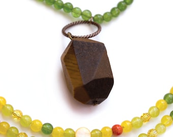 Long yellow Jade and green - Yellow Jade Necklace - Green Jade Necklace