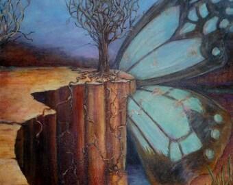 Trina Truax, Reborn Again, Poem Illustration, Oil on Canvas butterfly wing, southwest, rebirth trending artist on Tumblr