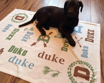 The Duke Dog Blanket Personalized with Name Monogram You Choose Colors for your Puppy or Dog Soft Washable Fleece Fabric in Two Sizes
