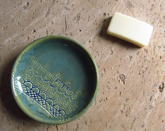 Teal soap dish/ blue soap dish/ ceramic spoon rest/ handmade carved soap plate/ blue design henna plate/ mother's day gift personalized