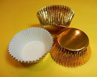 48 Gold Foil Cupcake Liners Baking Cups Wrappers Supplies Jenuine Crafts