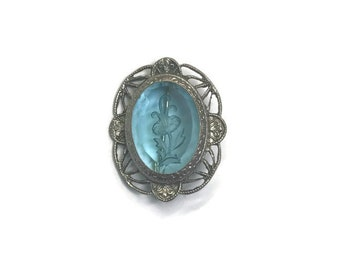 Vintage Blue Reverse Carved Czech Glass Brooch, Brooch with Marcasite Setting, Intaglio Brooch, Costume Jewelry