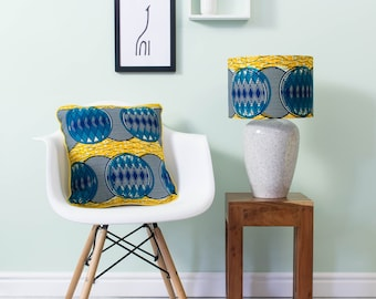 African lampshade and pillow set - African print lampshade - African  pillow - throw pillow - scatter cushion - Blue yellow ripple