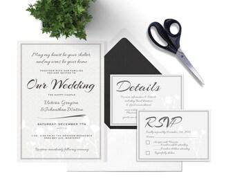 DIY Wedding Invitation Set, Wedding Template Set, RSVP Card, Details Card, Vector Template, Photoshop Template, PDF Template