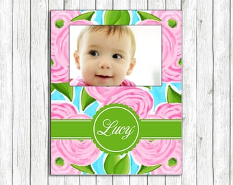 Pink Flowers Design Personalized Picture Frame - Custom Pattern, Color, Monogram & More - Gift Photo Frame Preppy Collection