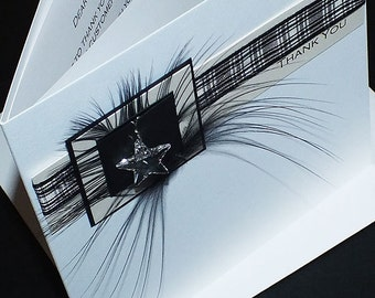 """Personalised Thank You Card """"Black Check"""""""