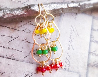 Yellow, green and red orange crystal earrings